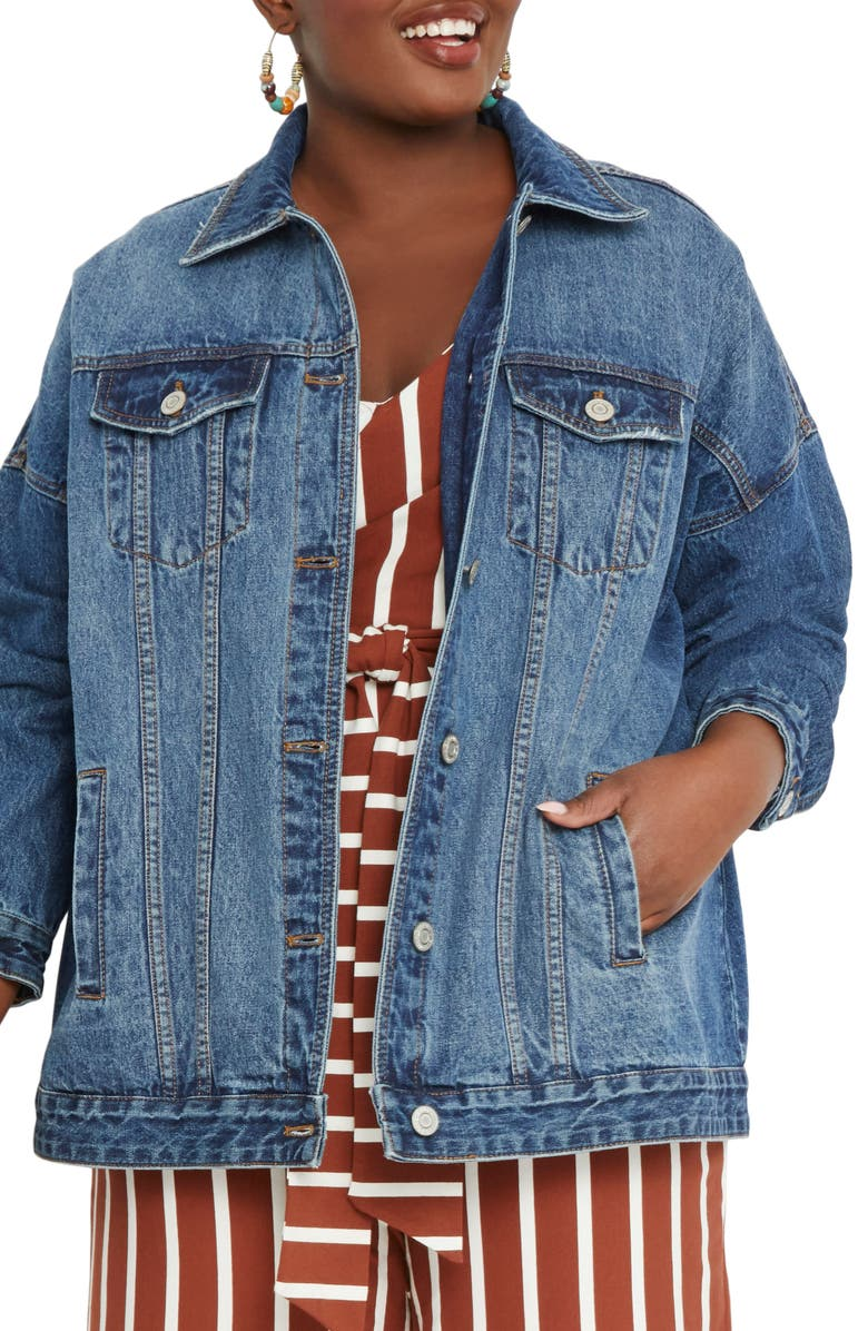 ELOQUII Boyfriend Denim Trucker Jacket, Main, color, 400