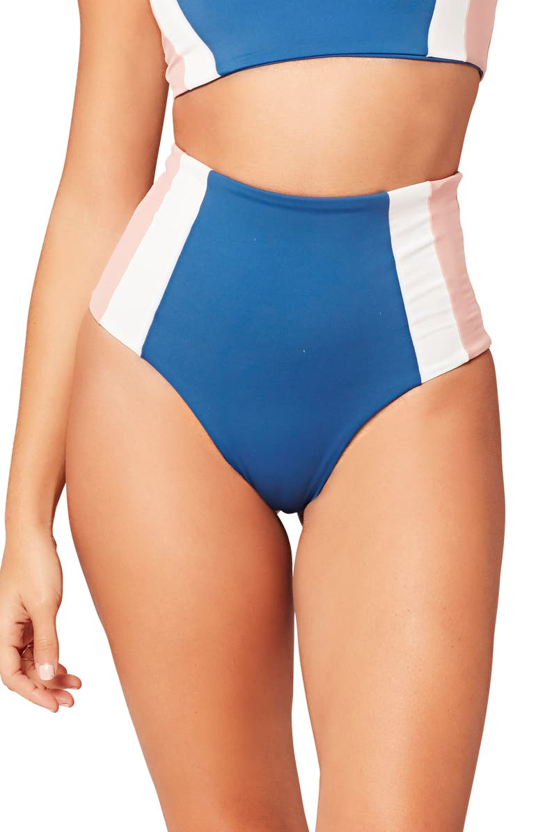 L SPACE Portia Girl High Waist Bikini Bottoms, Main, color, INDIGO/ WHITE/ PRIMROSE