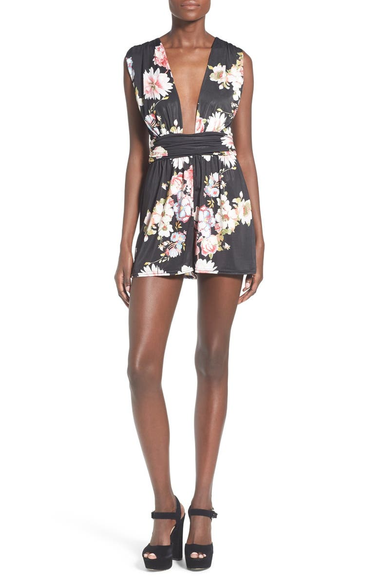 MISSGUIDED Floral Plunge Sleeveless Romper, Main, color, 002