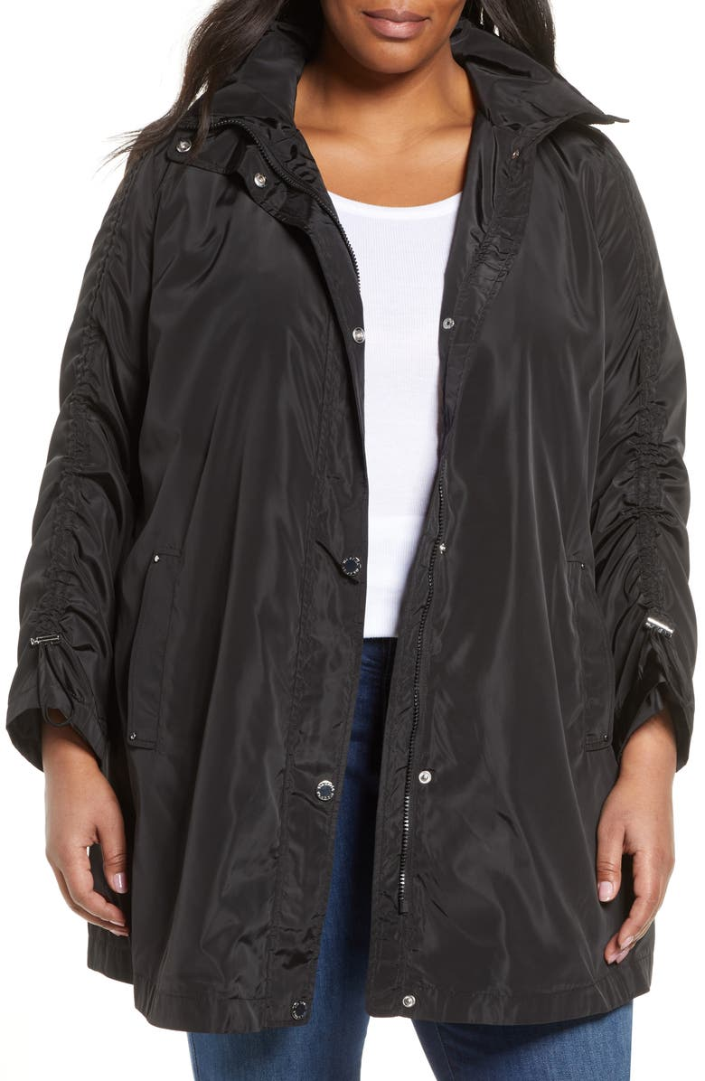 VIA SPIGA Ruched Sleeve Packable Rain Jacket, Main, color, BLACK