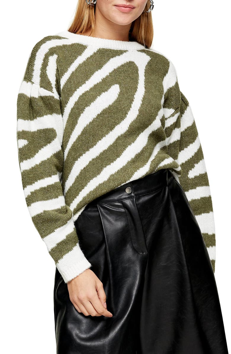TOPSHOP Oversize Swirl Pattern Sweater, Main, color, 300