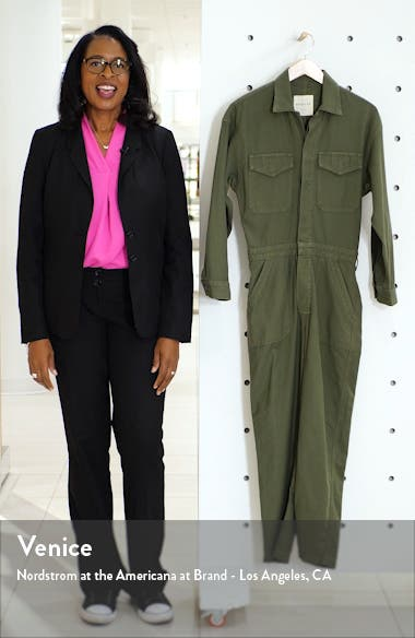Marta Long Sleeve Cotton Twill Utility Jumpsuit, sales video thumbnail