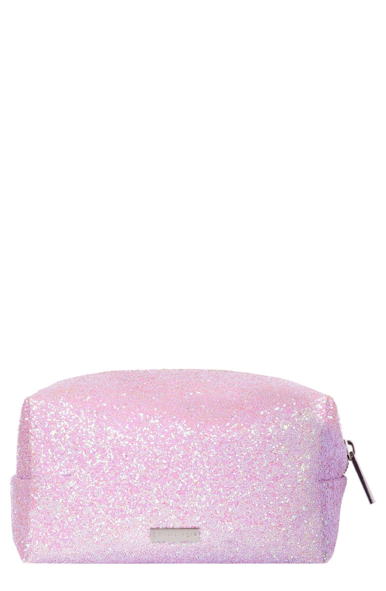 SKINNYDIP Skinny Dip Pink Glitsy Makeup Bag, Main, color, 000