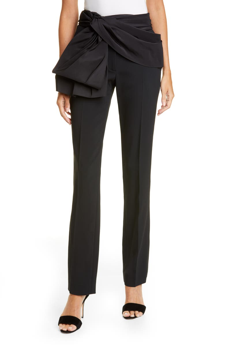 CAROLINA HERRERA Tie Belt Straight Leg Pants, Main, color, 001