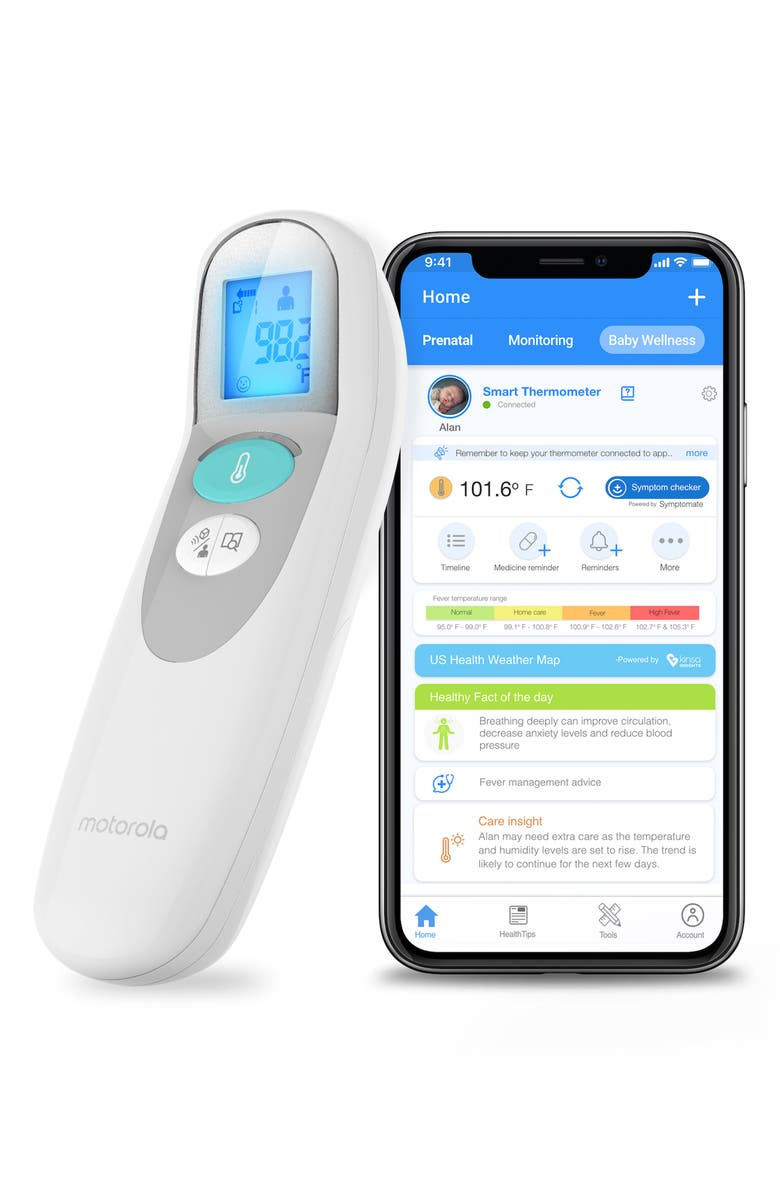 MOTOROLA Care+ Contactless Smart Thermometer, Main, color, White