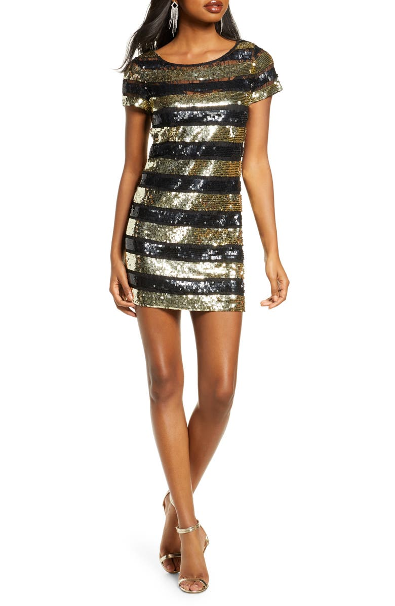 FRENCH CONNECTION Anni Sequin Stripe Sheath Dress, Main, color, SEQUIN BLACK/GOLD
