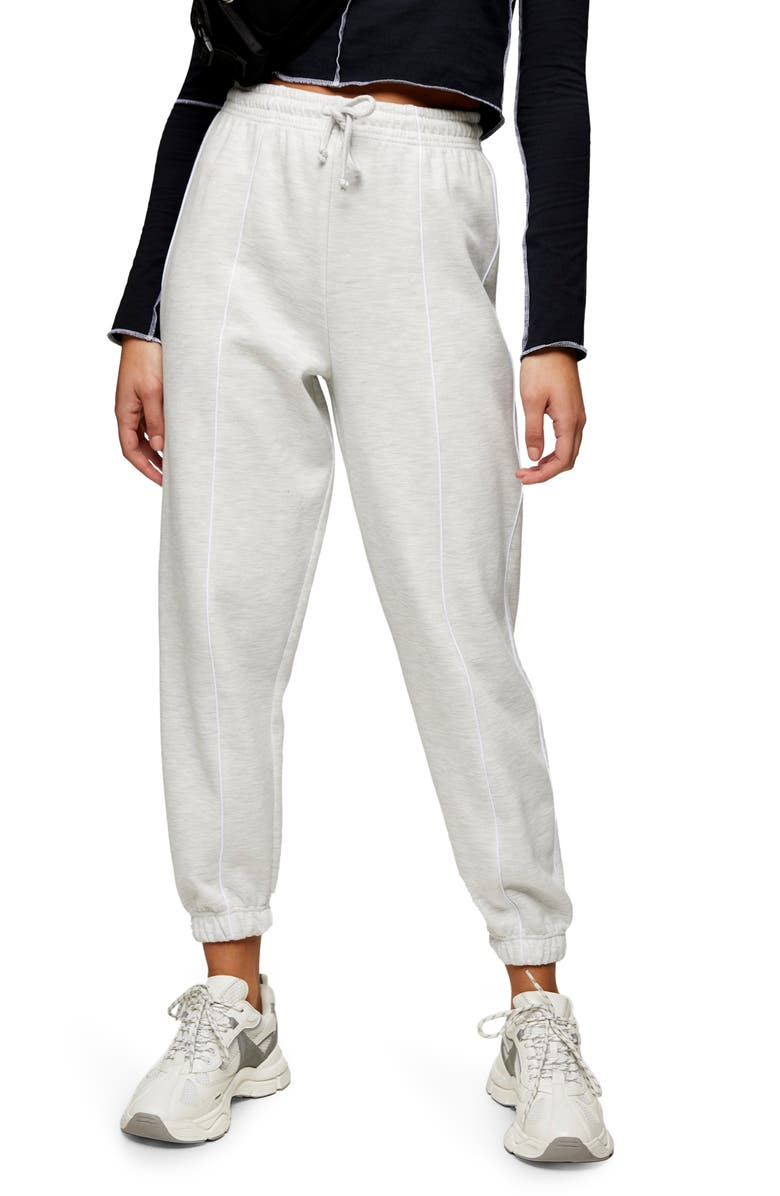 TOPSHOP Seam Detail Joggers, Main, color, SILVER