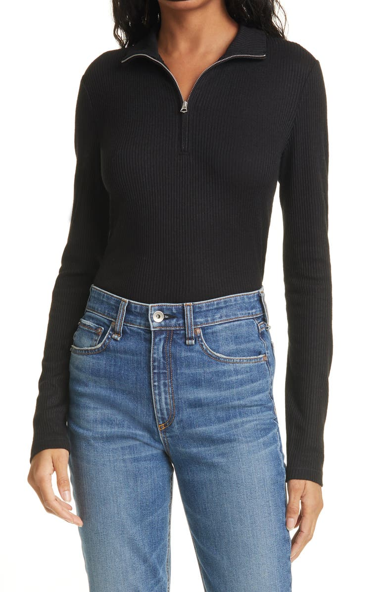 RAG & BONE The Knit Rib Half Zip Sweater, Main, color, BLACK
