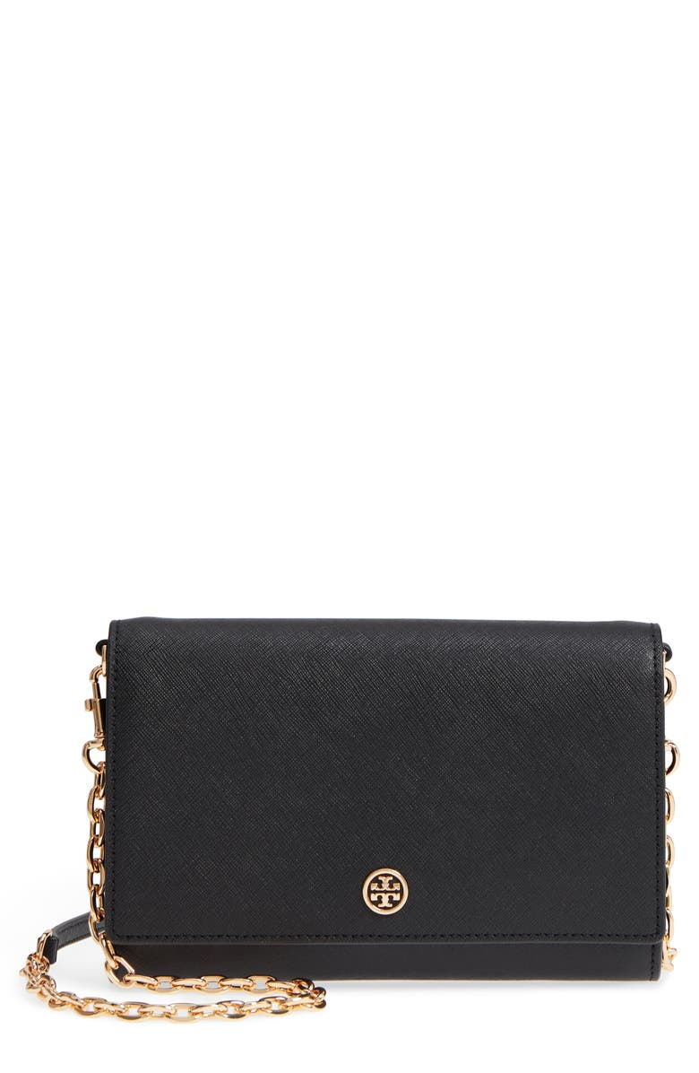 TORY BURCH Robinson Leather Wallet on a Chain, Main, color, BLACK / ROYAL NAVY
