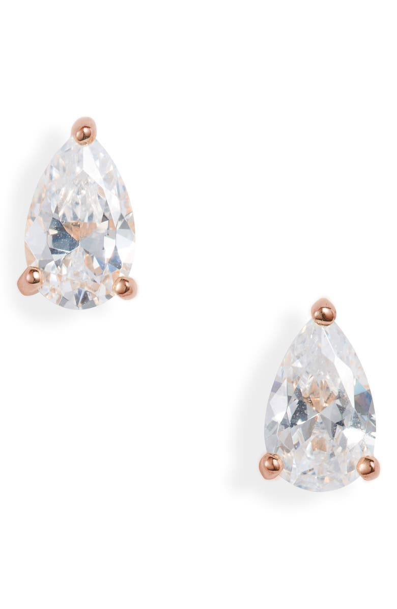 NORDSTROM 2ct tw Cubic Zirconia Earrings, Main, color, CLEAR- ROSE GOLD PEAR