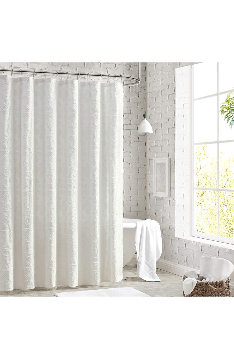 PERI HOME Clipped Floral Shower Curtain, Main, color, White