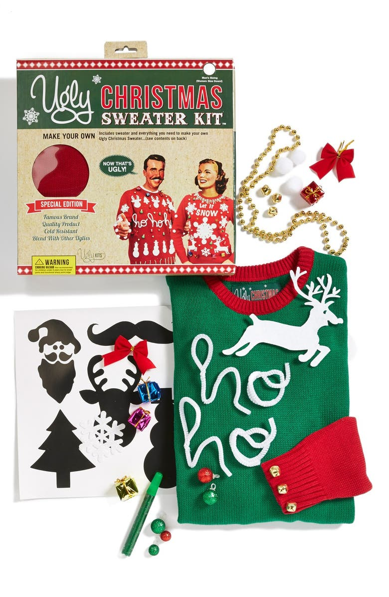 UGLY CHRISTMAS SWEATER Colorblock Make-Your-Own Sweater Kit, Main, color, EMERALD