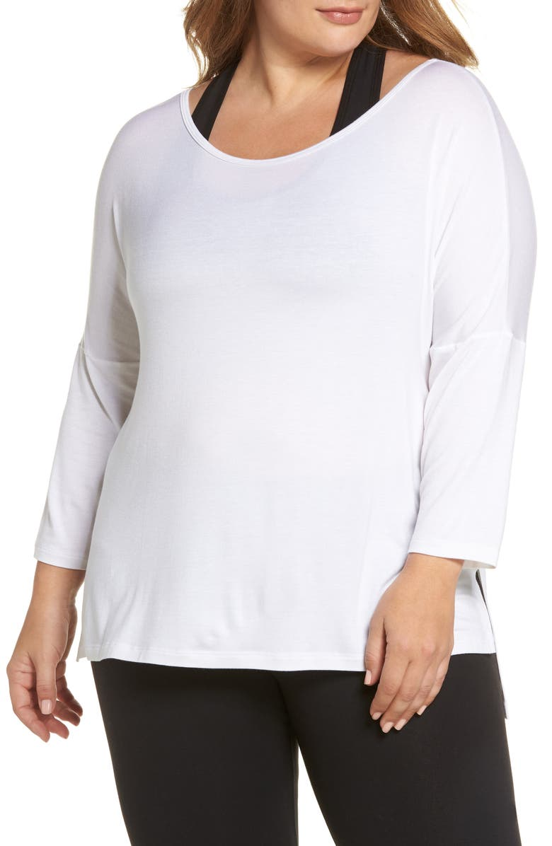 BEYOND YOGA Slink It Boxy Pullover, Main, color, WHITE