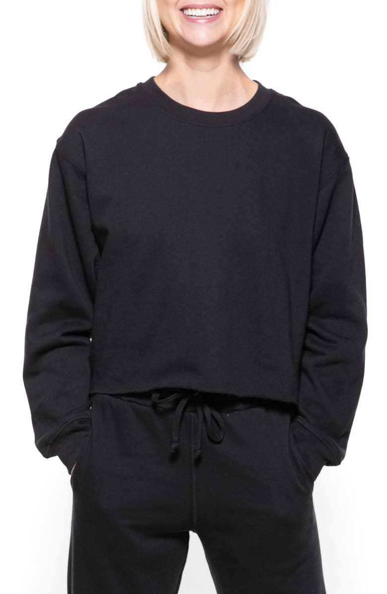 SUB_URBAN RIOT Gigi Crop Sweatshirt, Main, color, BLACK