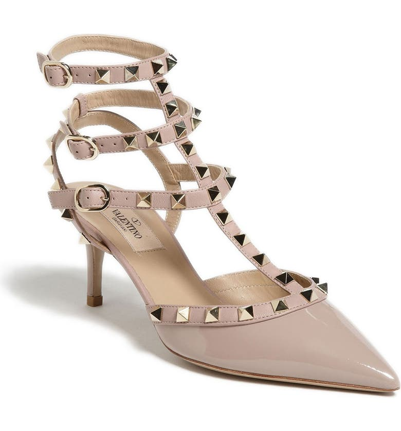 VALENTINO GARAVANI Rockstud Strappy Pointed Toe Pump, Main, color, POUDRE PATENT