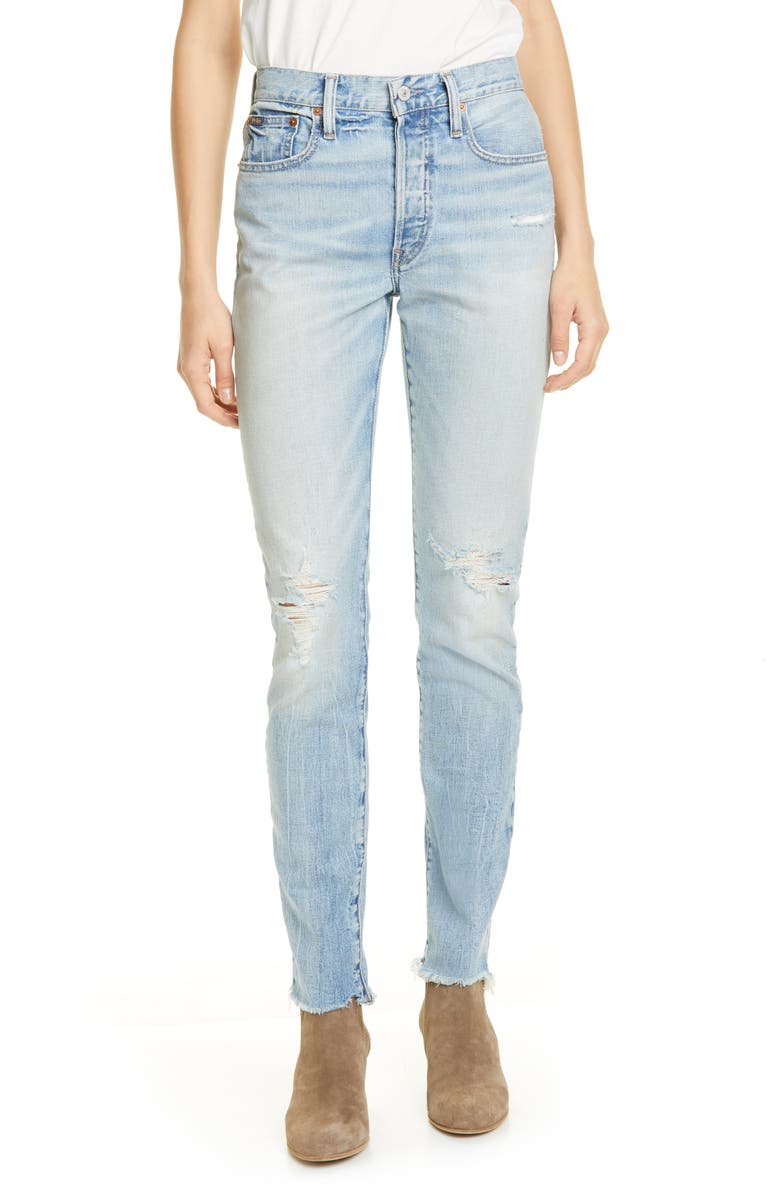 POLO RALPH LAUREN Distressed Raw Hem Skinny Jeans, Main, color, 400