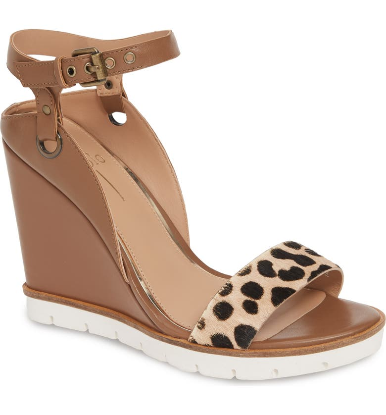 LINEA PAOLO Ella Wedge Sandal, Main, color, COGNAC CALF HAIR/ LEATHER