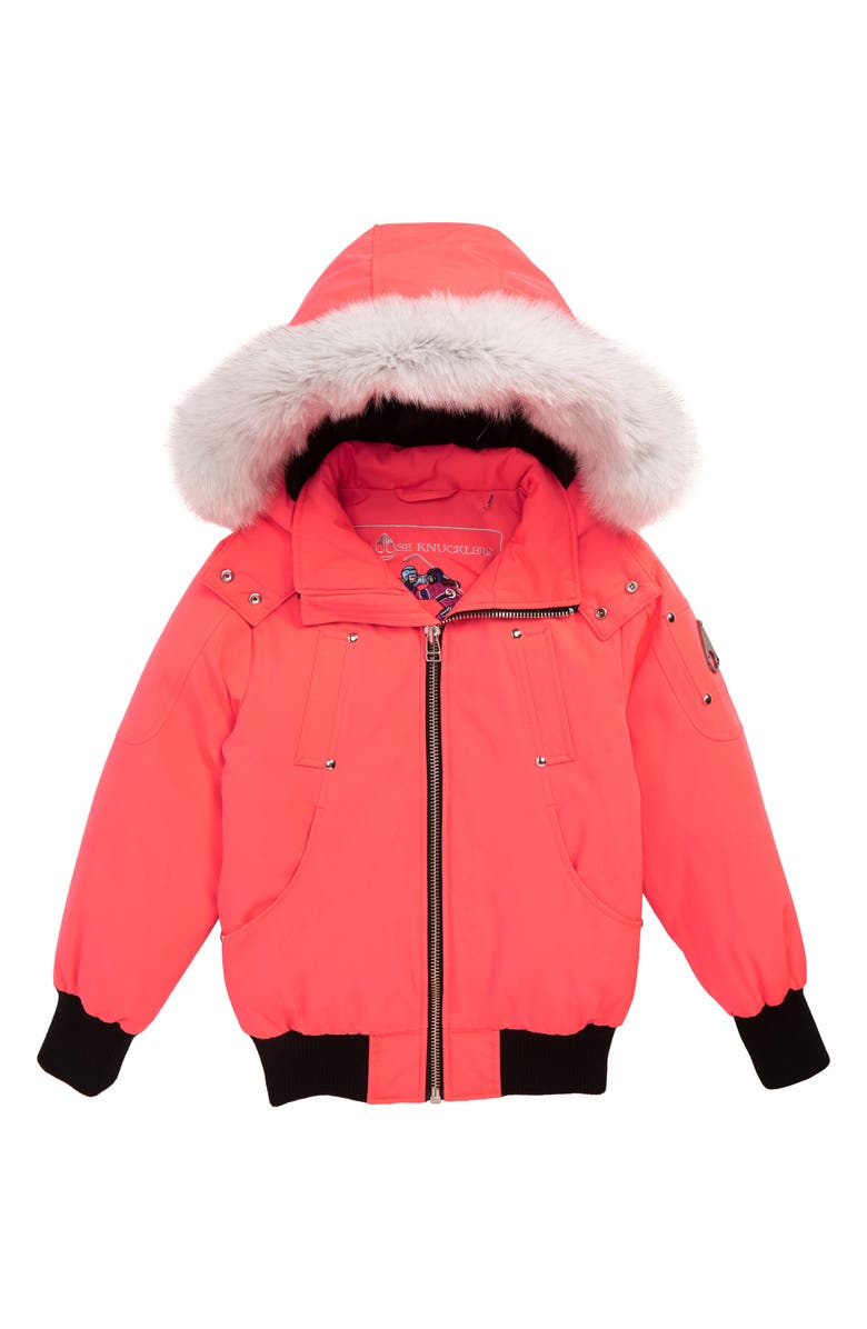 MOOSE KNUCKLES Bomber Jacket with Genuine Fox Fur Trim, Main, color, CORAL/ WHITE FUR