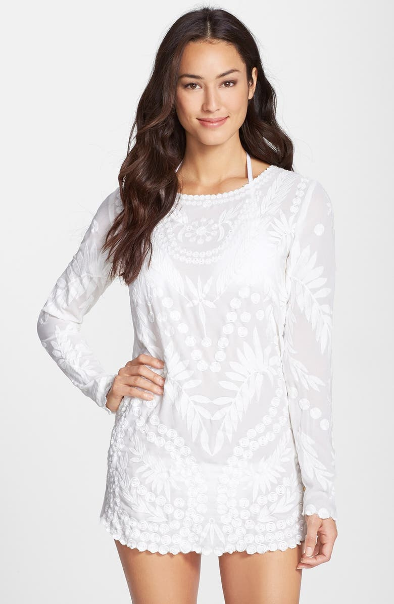 PILYQ 'Jane' Embroidered Cover-Up Tunic Dress, Main, color, White