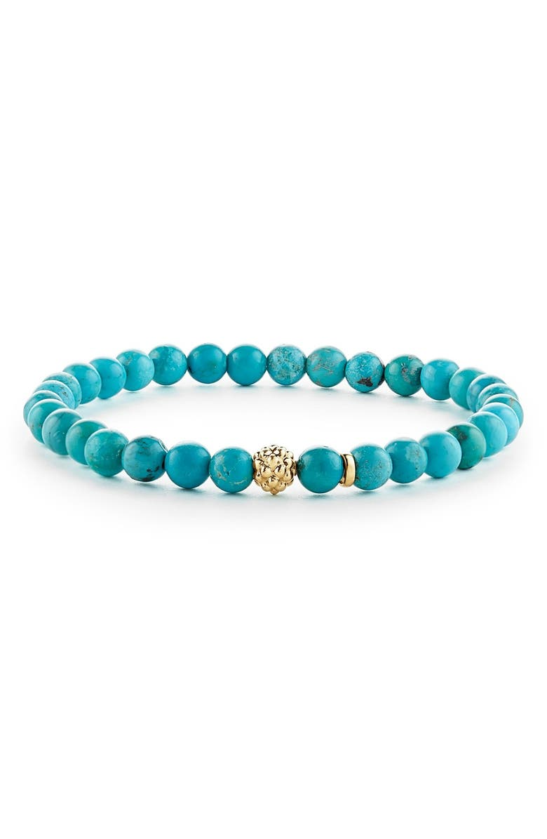 LAGOS 'Caviar Icon' Semiprecious Stone Bracelet, Main, color, TURQUOISE/ GOLD