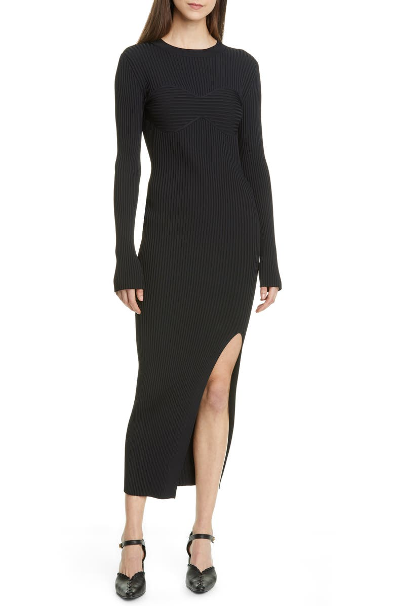 KHAITE Evlynne Long Sleeve Ribbed Sweater Dress, Main, color, 001