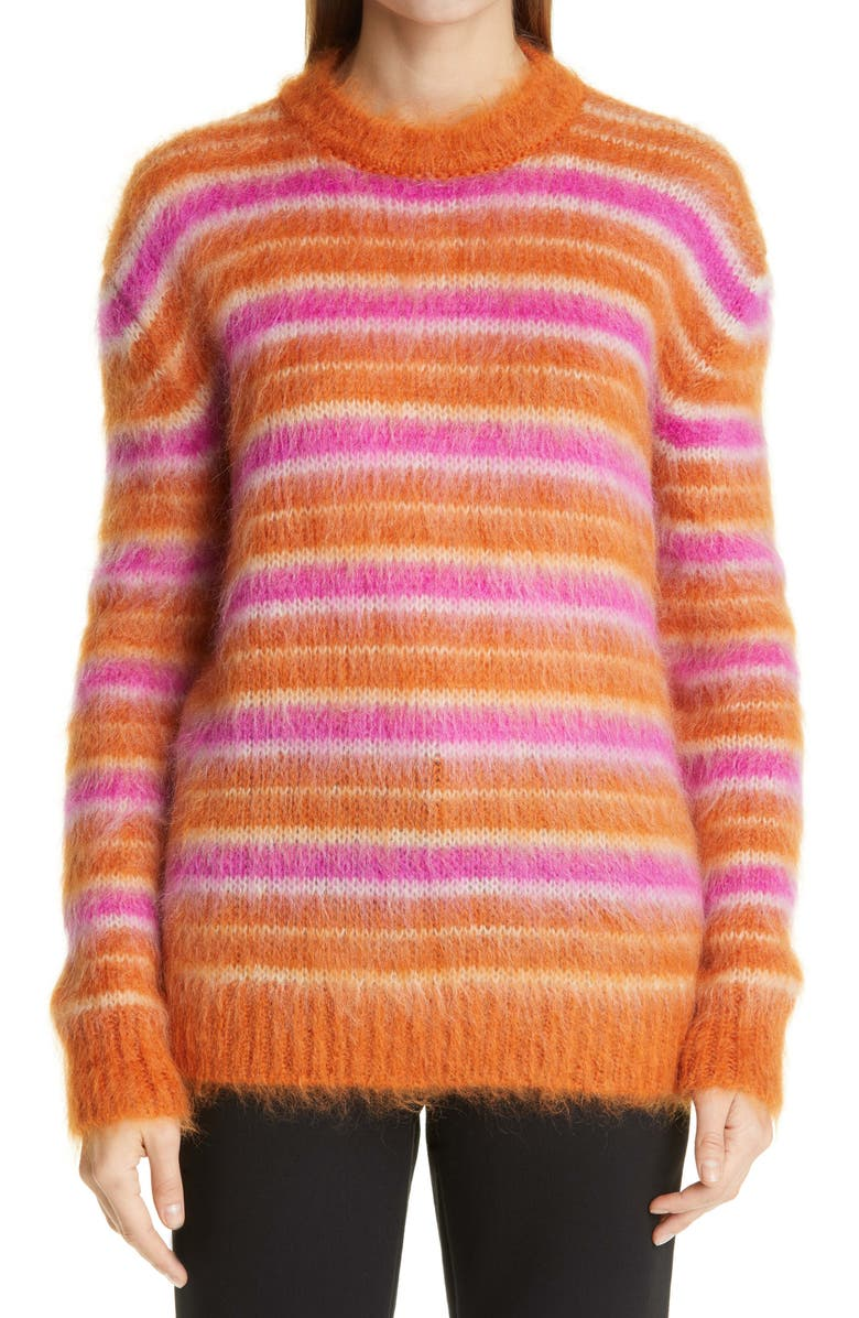 MARNI Stripe Oversize Mohair Blend Sweater, Main, color, LOBSTER