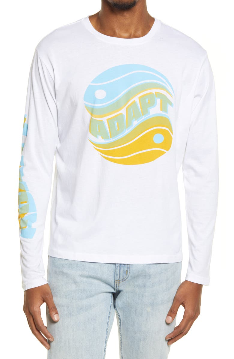 BP. Men's Down to Earth Long Sleeve Graphic Tee, Main, color, WHITE ADAPT