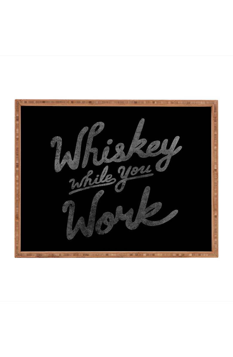 DENY DESIGNS Nick Quintero Whiskey While You Work Rectangular Tray, Main, color, MULTI