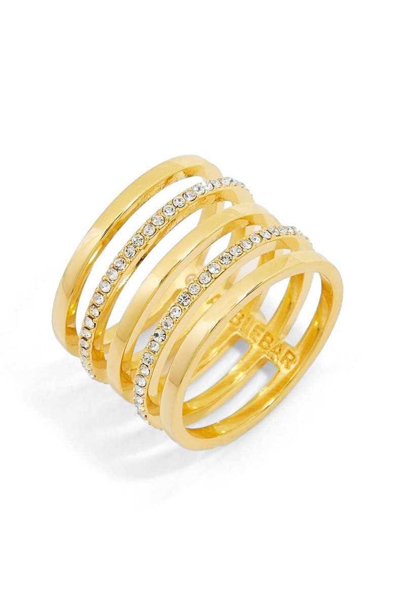 BAUBLEBAR 'Perforate' Crystal Ring, Main, color, Gold