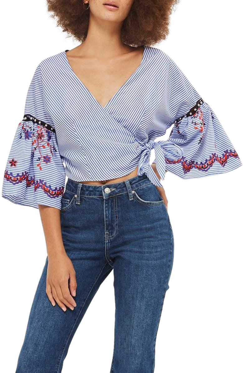 TOPSHOP Embroidered Stripe Wrap Top, Main, color, 400
