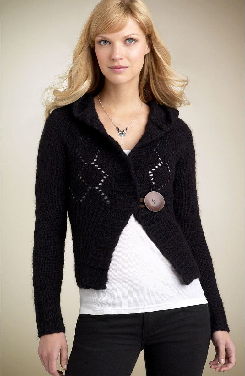 FREE PEOPLE Big Button Hoody Sweater, Main, color, BLK