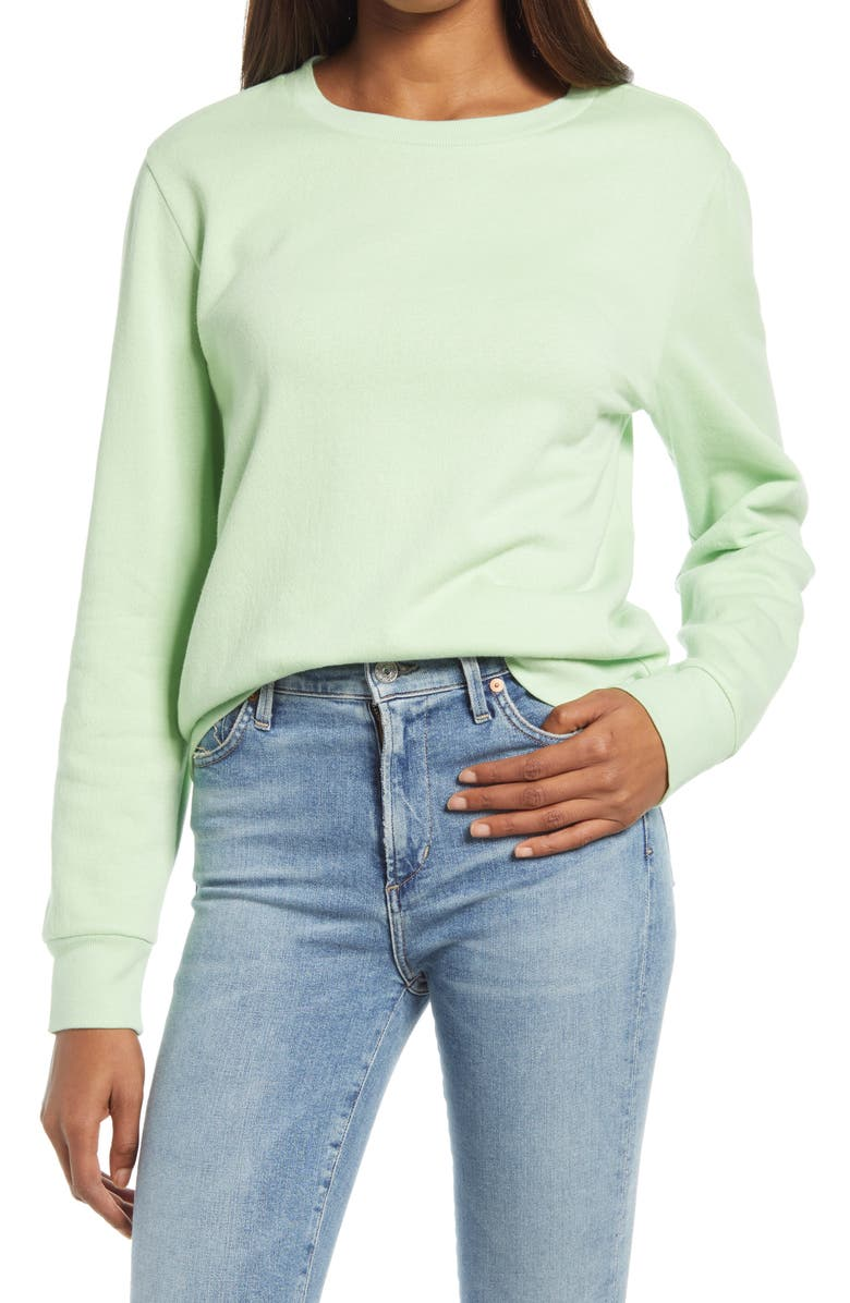 TREASURE & BOND Crewneck Sweatshirt, Main, color, GREEN NILE