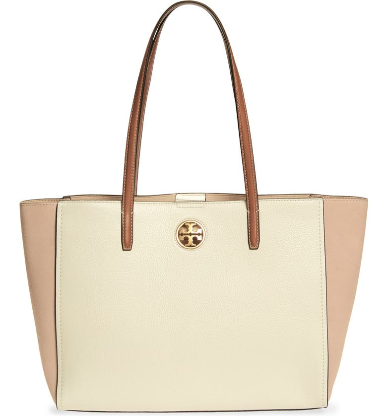 TORY BURCH Carson Colorblock Leather Tote, Main, color, NEW IVORY