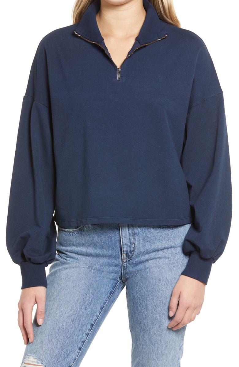 TREASURE & BOND Blouson Sleeve Quarter Zip Sweatshirt, Main, color, NAVY NIGHT