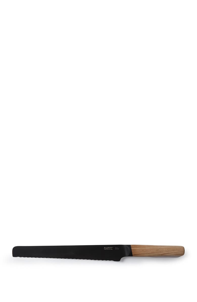 """BERGHOFF INTERNATIONAL Silver/Natural Wood 9"""" Bread Knife, Main, color, 250"""