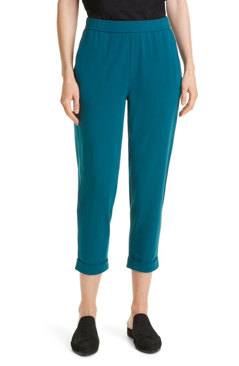 EILEEN FISHER Rolled Cuff Slim Jersey Crop Pants, Main, color, AGEAN