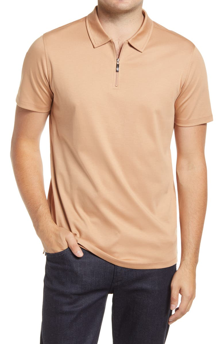 ROBERT BARAKETT Georgia Zip Polo, Main, color, APRICOT