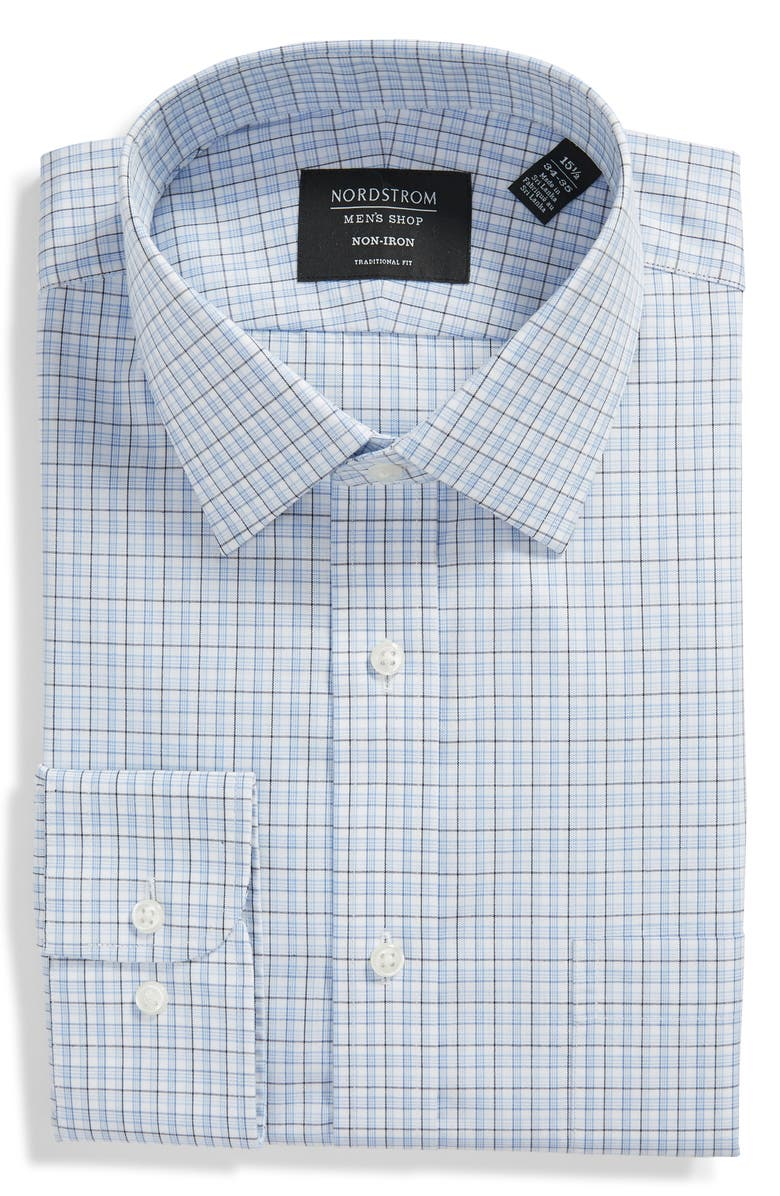 NORDSTROM Traditional Fit Non-Iron Plaid Dress Shirt, Main, color, 450