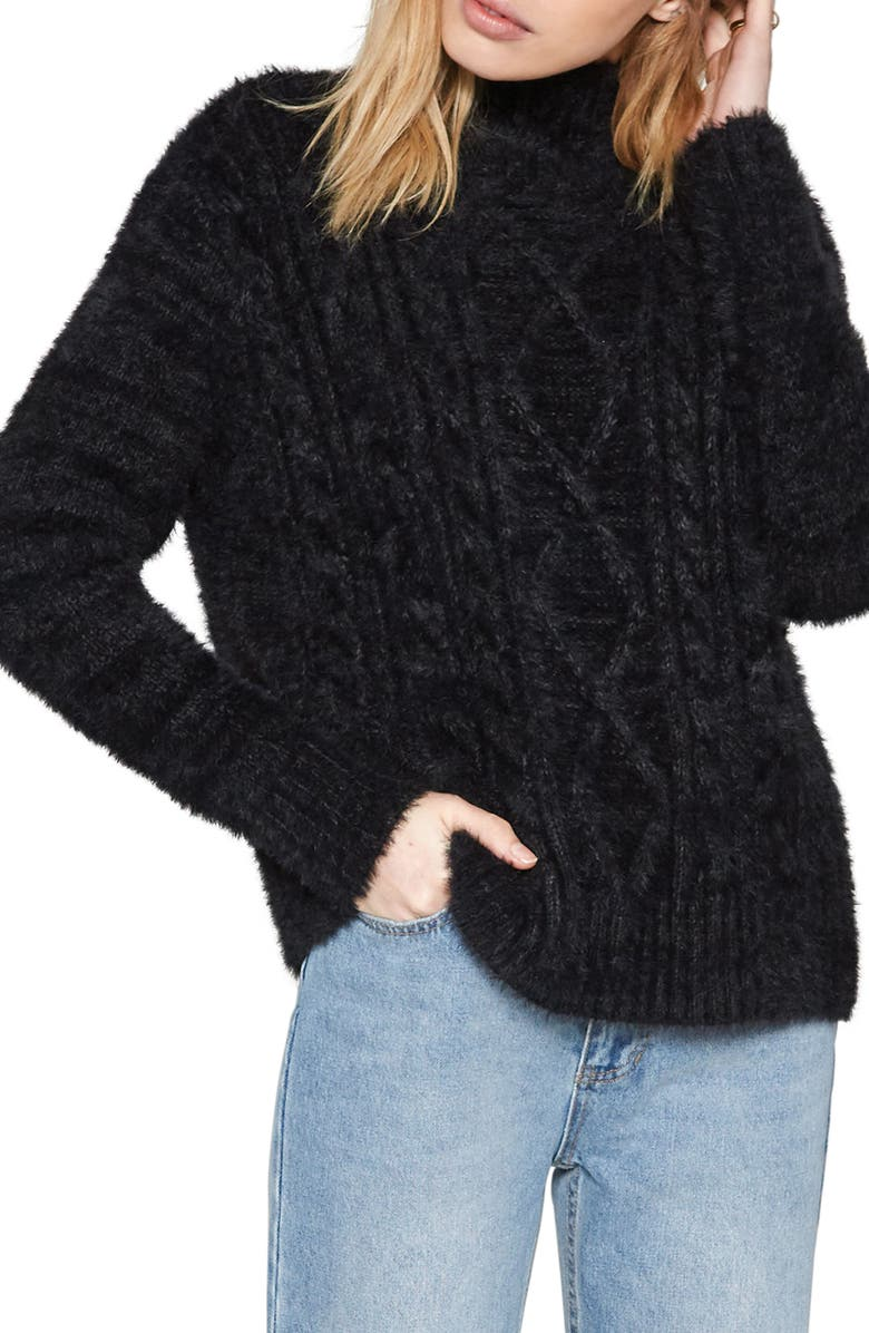 AMUSE SOCIETY Cool Winds Cable Knit Sweater, Main, color, 001