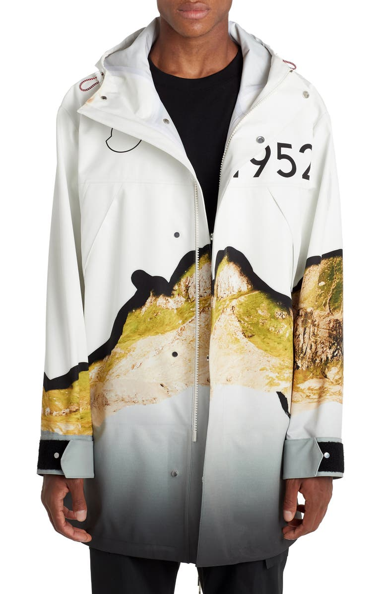 MONCLER GENIUS x 2 Moncler 1952 Kalalau Print Hooded Jacket, Main, color, WHITE