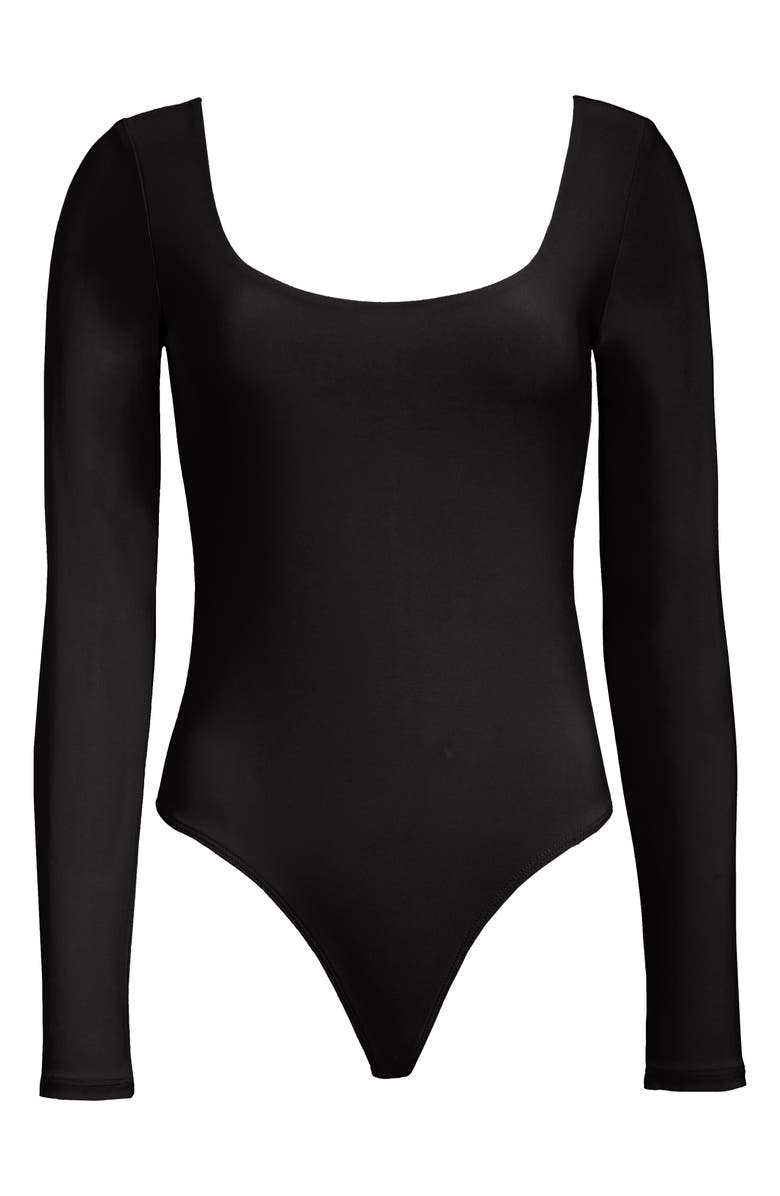 LEITH Double Scoop Long Sleeve Thong Bodysuit, Main, color, 001