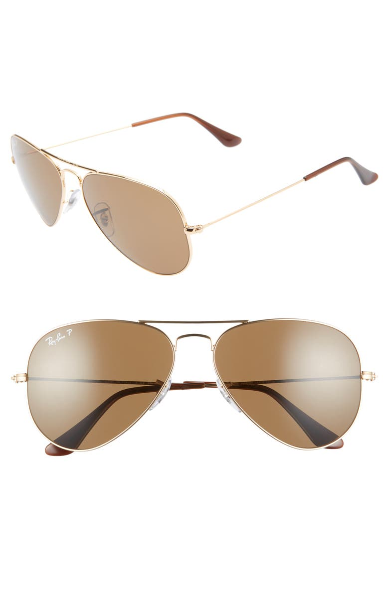 RAY-BAN Original 58mm Aviator Sunglasses, Main, color, GOLD/ BROWN SOLID