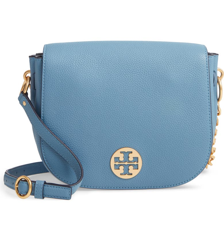TORY BURCH Everly Leather Flap Saddle Bag, Main, color, BLUE YONDER