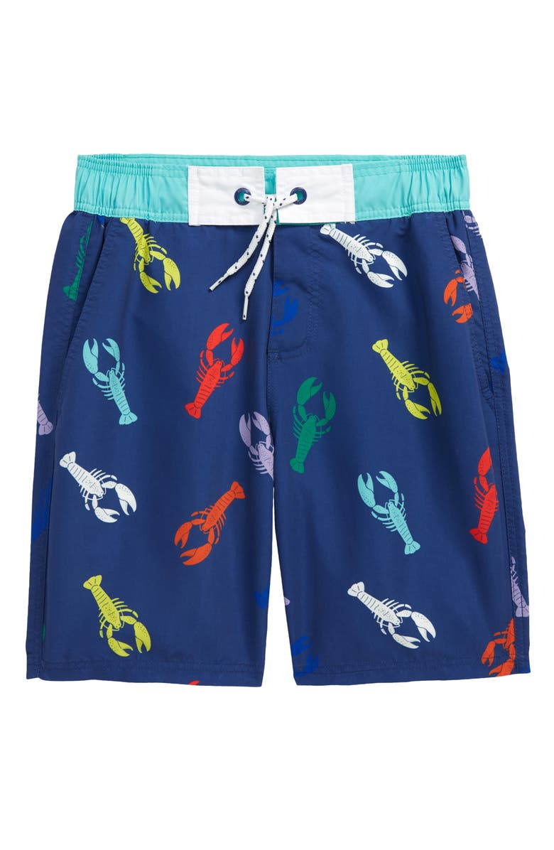 MINI BODEN Kids' Tie Waist Board Shorts, Main, color, COLLEGE NAVY LOBSTERS