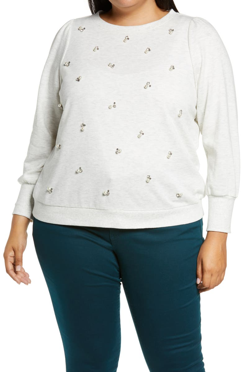 WIT & WISDOM Embellished Sweatshirt, Main, color, 108