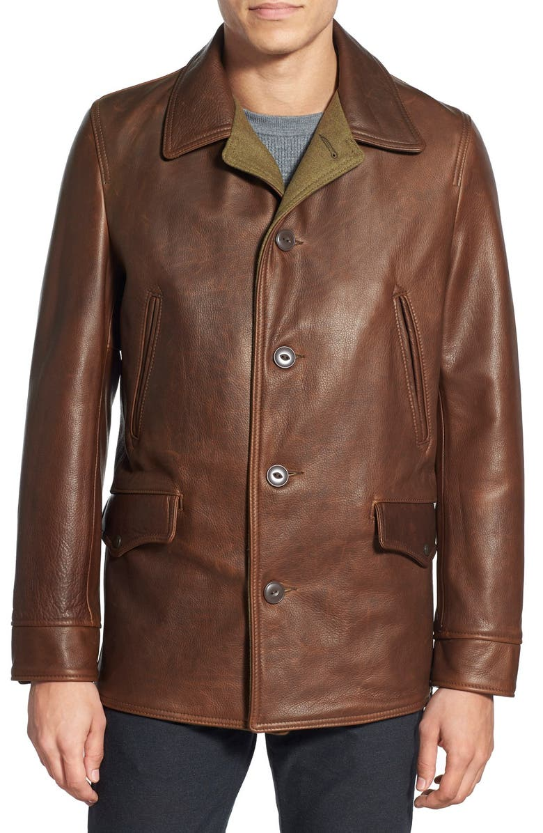 SCHOTT NYC Retro Leather Car Coat, Main, color, 200