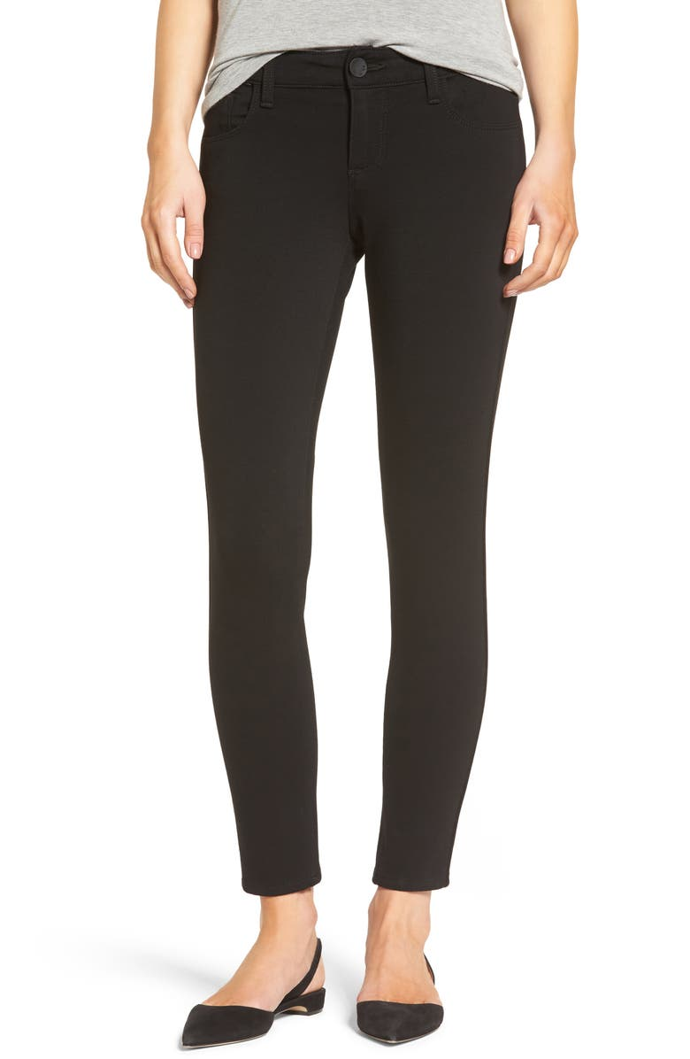 KUT FROM THE KLOTH Donna Ponte Knit Skinny Jeans, Main, color, BLACK
