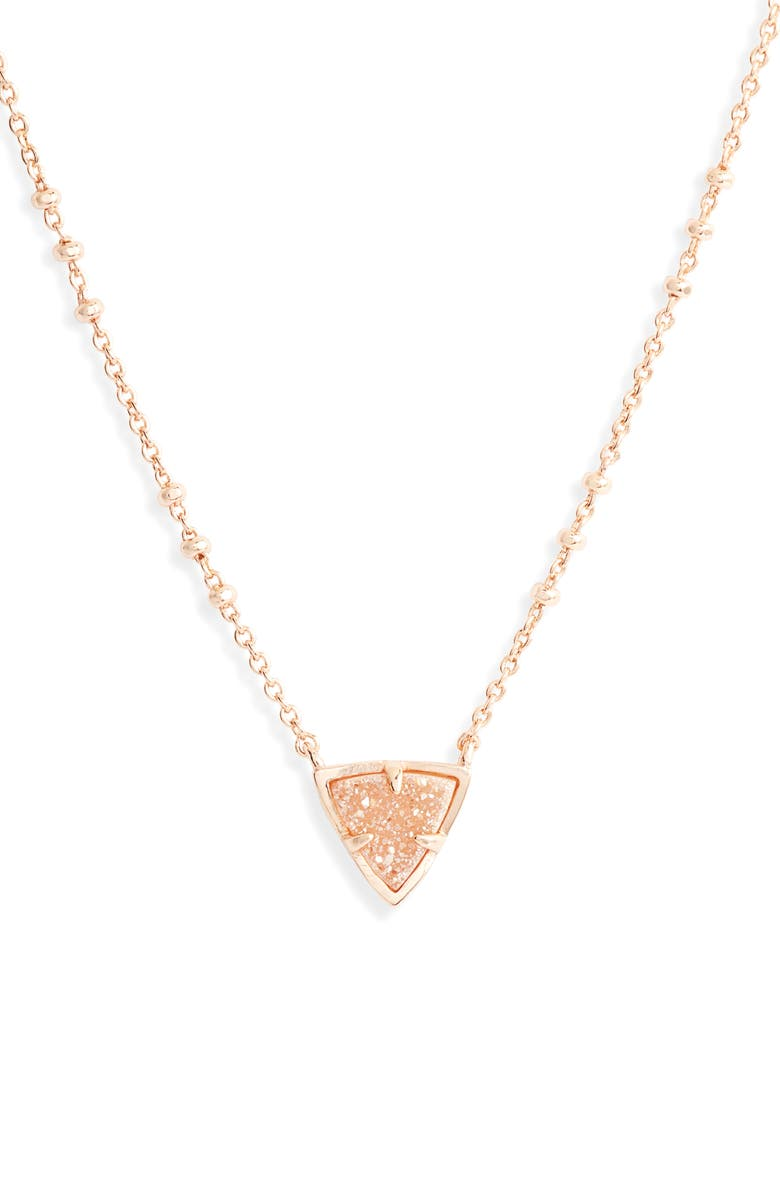 KENDRA SCOTT Perry Pendant Necklace, Main, color, ROSE GOLD SAND DRUSY