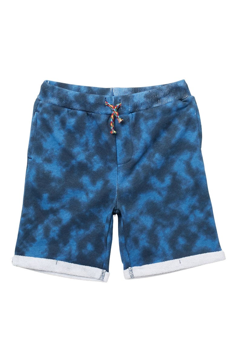 ANDY AND EVAN French Terry Knit Shorts, Main, color, NAVY TIE DYE