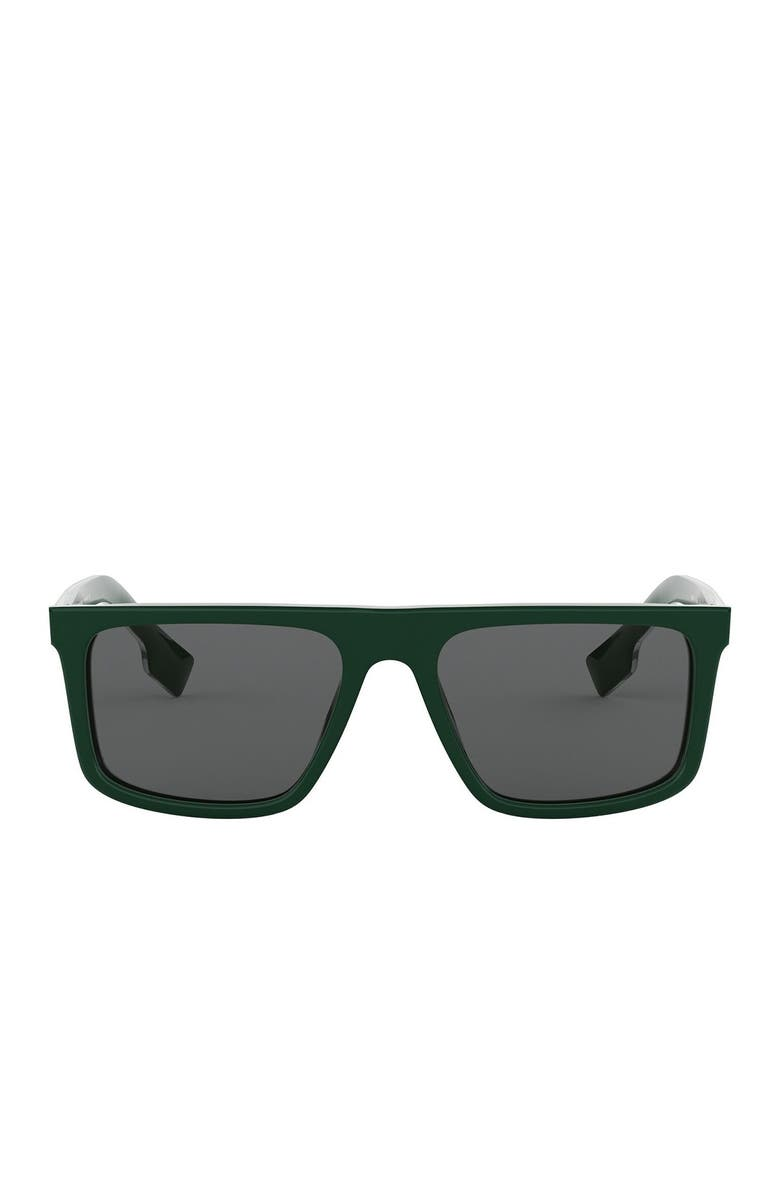 BURBERRY 55mm Rectangle Sunglasses, Main, color, GREEN